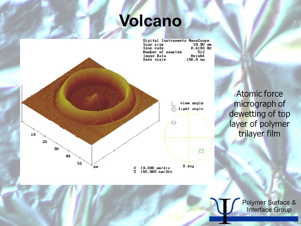 Volcano Atomic force micrograph of dewetting of top layer of polymer trilayer film