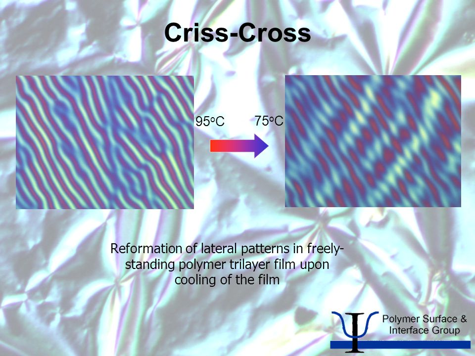 Criss-Cross Reformation of lateral patterns in freely- standing polymer trilayer film upon cooling of the film 95 o C 75 o C
