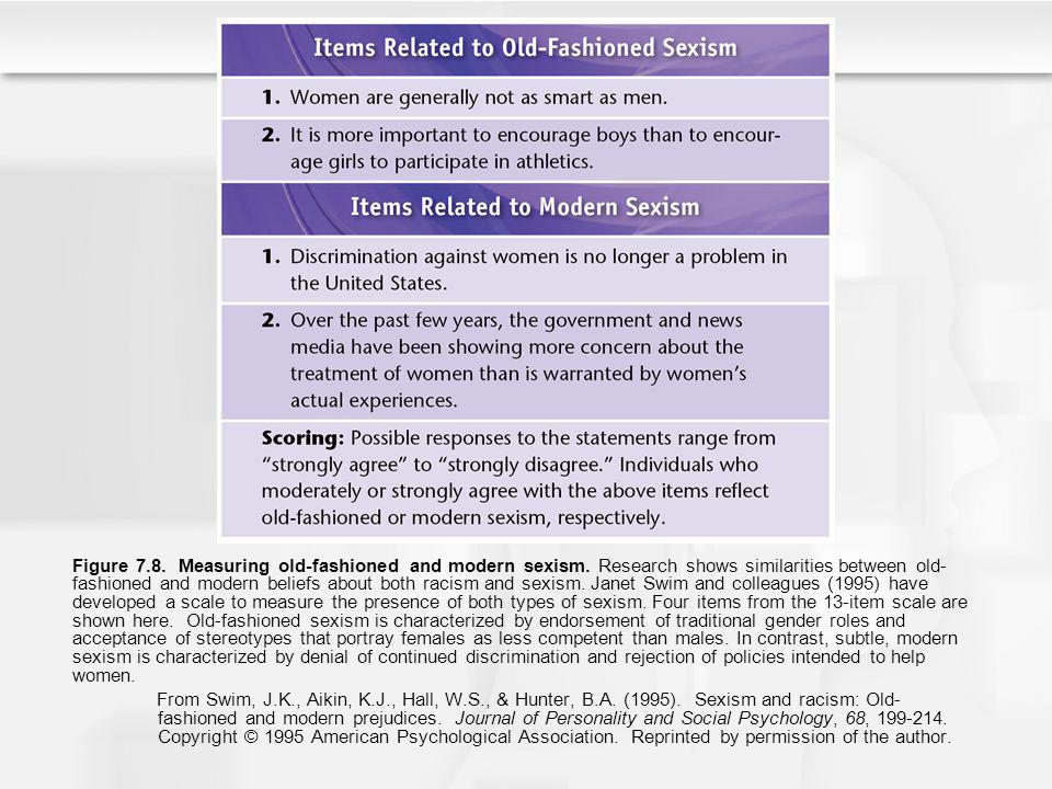 Figure 7.8. Measuring old-fashioned and modern sexism. Research shows similarities between old- fashioned and modern beliefs about both racism and sex