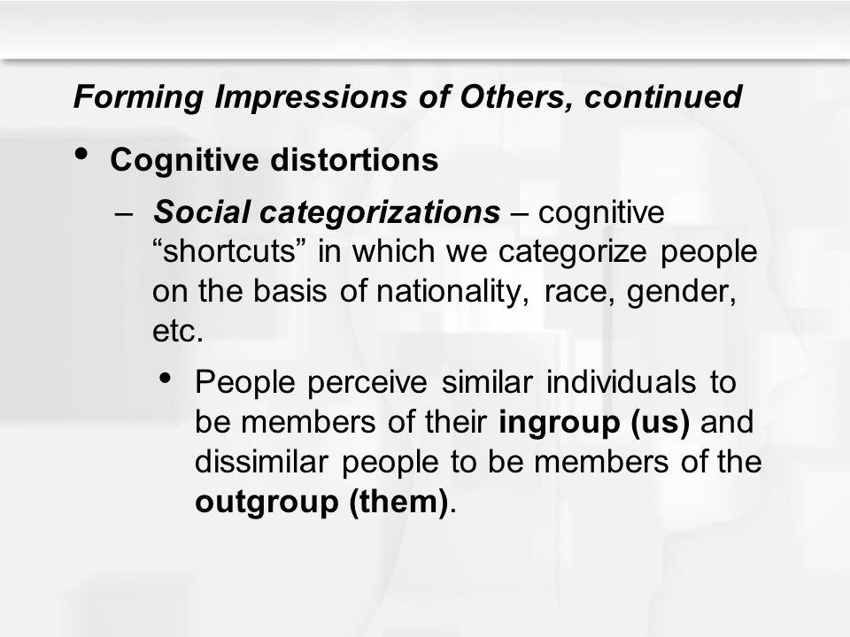 Forming Impressions of Others, continued Cognitive distortions –Social categorizations – cognitive shortcuts in which we categorize people on the basi