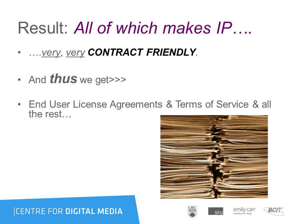 Result: All of which makes IP…. ….very, very CONTRACT FRIENDLY.