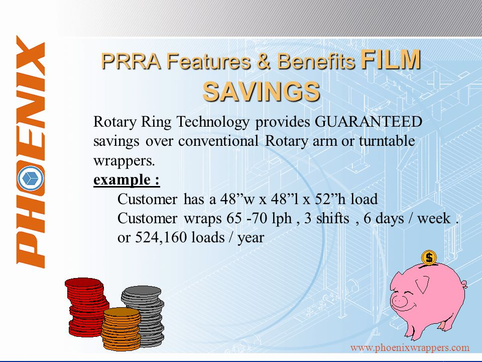 www.phoenixwrappers.com PRRA Features & Benefits FILM SAVINGS Rotary Ring Technology provides GUARANTEED savings over conventional Rotary arm or turntable wrappers.