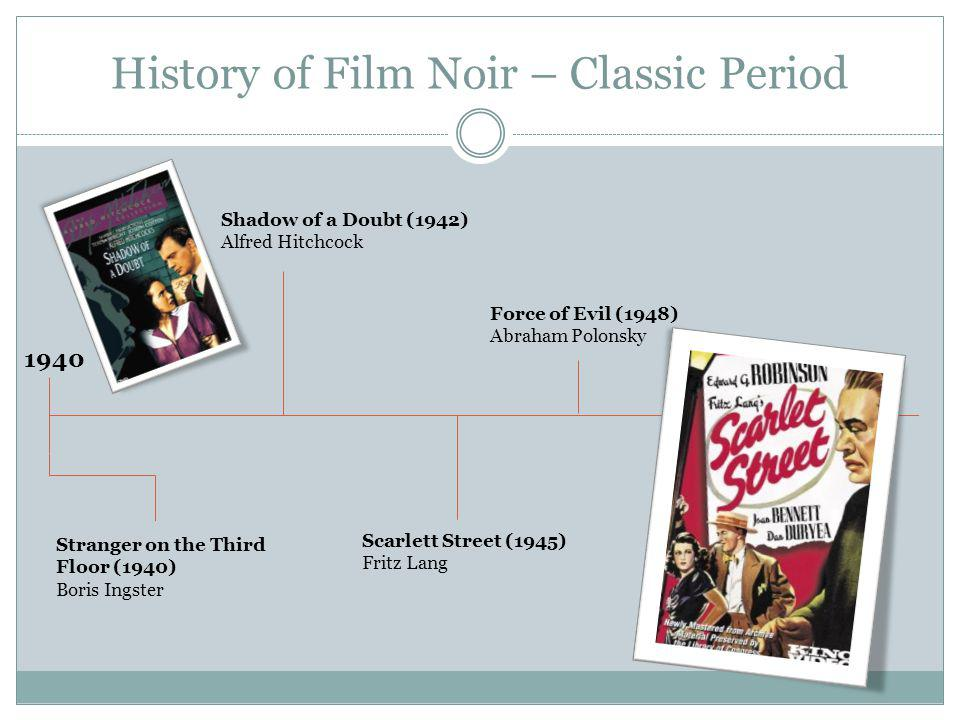 History of Film Noir – Classic Period Stranger on the Third Floor (1940) Boris Ingster 1940 Shadow of a Doubt (1942) Alfred Hitchcock Scarlett Street (1945) Fritz Lang Force of Evil (1948) Abraham Polonsky