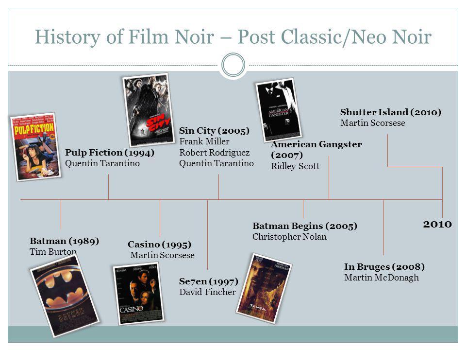 History of Film Noir – Post Classic/Neo Noir 2010 Shutter Island (2010) Martin Scorsese In Bruges (2008) Martin McDonagh American Gangster (2007) Ridl
