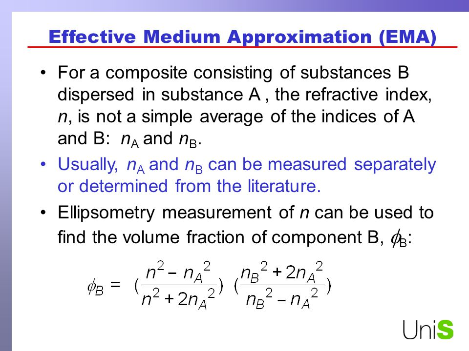 Effective Medium Approximation (EMA) For a composite consisting of substances B dispersed in substance A, the refractive index, n, is not a simple average of the indices of A and B: n A and n B.