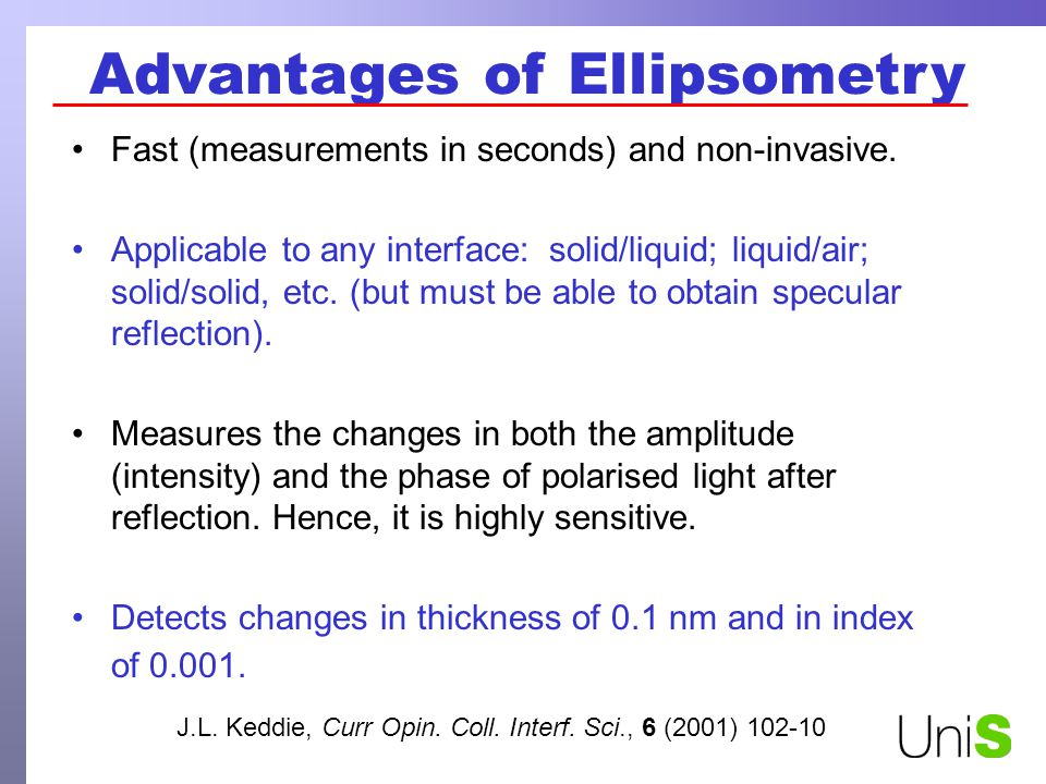 Advantages of Ellipsometry Fast (measurements in seconds) and non-invasive.