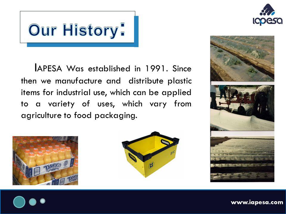 www.iapesa.com I I APESA Was established in 1991.