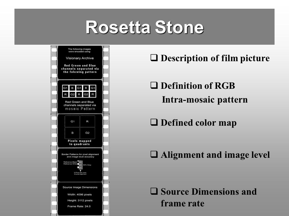 Rosetta Stone Description of film picture Definition of RGB Intra-mosaic pattern Defined color map Alignment and image level Source Dimensions and fra