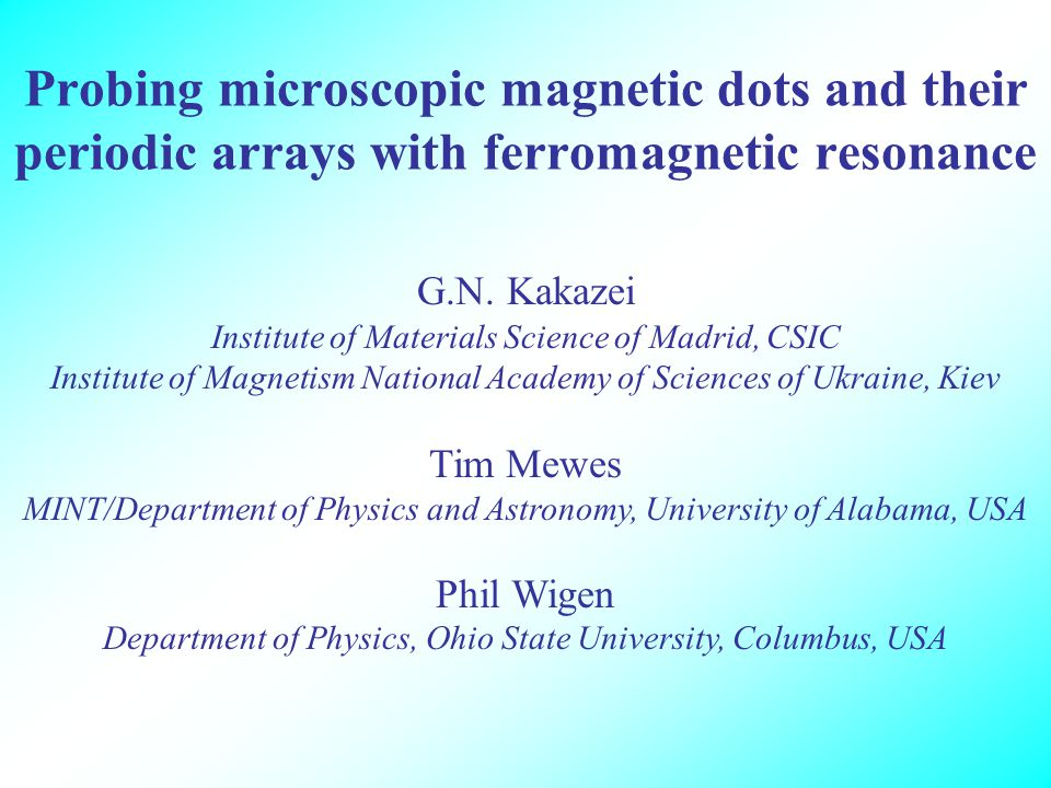 Probing microscopic magnetic dots and their periodic arrays with ferromagnetic resonance G.N.