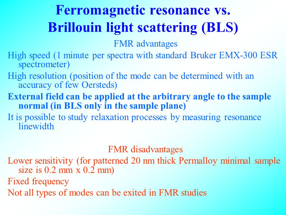 Ferromagnetic resonance vs.