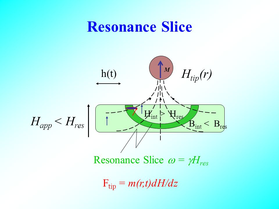 Resonance Slice Resonance Slice = H res F tip = m(r,t)dH/dz M H tip (r) H app < H res h(t) H int > H res B int < B res