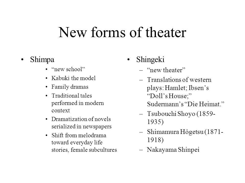 New forms of theater Shimpa new school Kabuki the model Family dramas Traditional tales performed in modern context Dramatization of novels serialized in newspapers Shift from melodrama toward everyday life stories, female subcultures Shingeki –new theater –Translations of western plays: Hamlet; Ibsens Dolls House; Sudermanns Die Heimat.