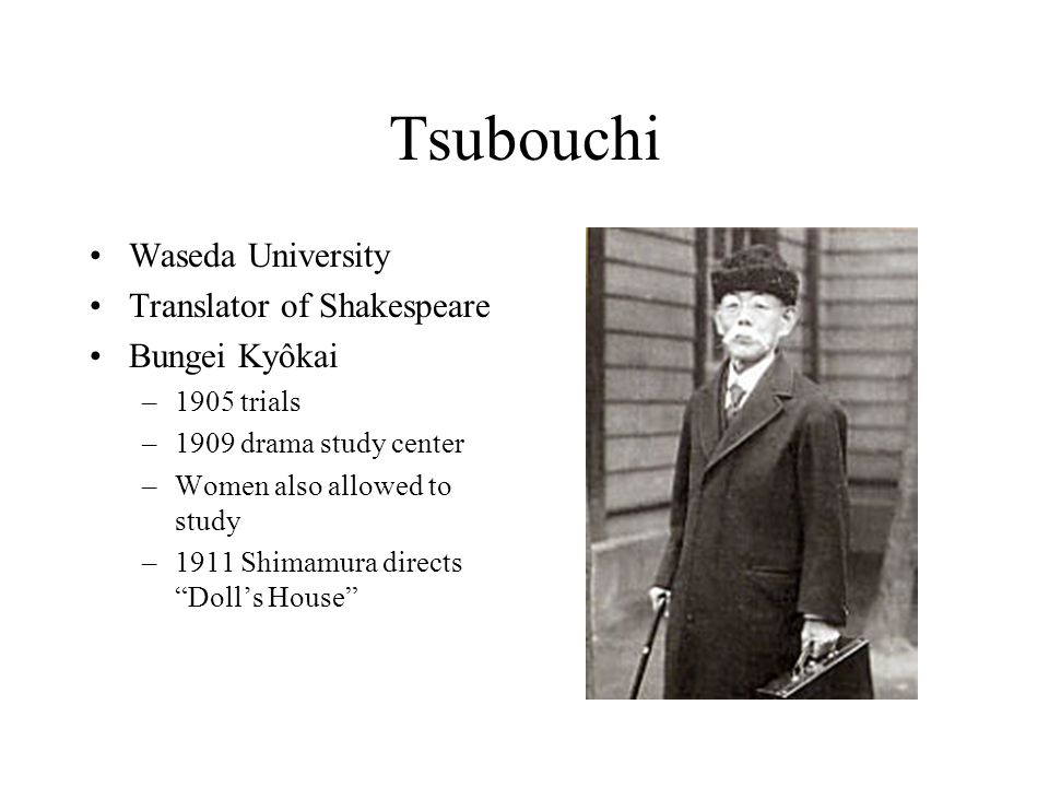 Tsubouchi Waseda University Translator of Shakespeare Bungei Kyôkai –1905 trials –1909 drama study center –Women also allowed to study –1911 Shimamura directs Dolls House