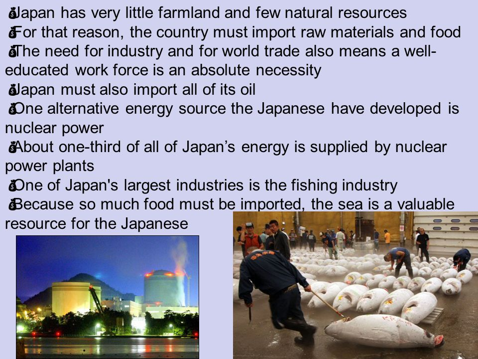 Japan has very little farmland and few natural resources For that reason, the country must import raw materials and food The need for industry and for world trade also means a well- educated work force is an absolute necessity Japan must also import all of its oil One alternative energy source the Japanese have developed is nuclear power About one-third of all of Japans energy is supplied by nuclear power plants One of Japan s largest industries is the fishing industry Because so much food must be imported, the sea is a valuable resource for the Japanese