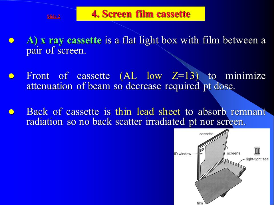 A) x ray cassette is a flat light box with film between a pair of screen. A) x ray cassette is a flat light box with film between a pair of screen. Fr