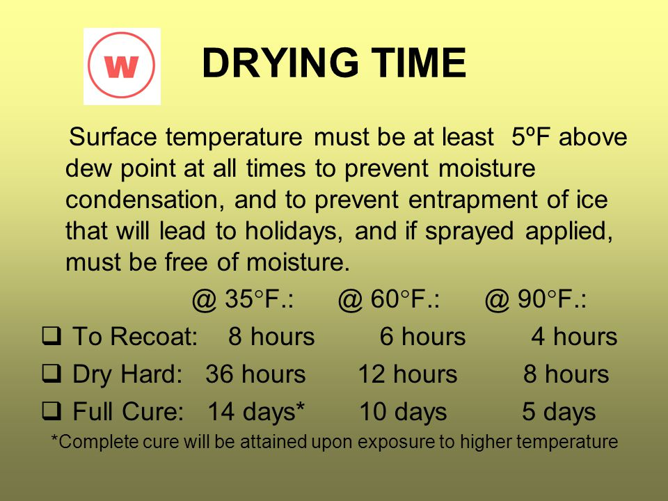 DRYING TIME Surface temperature must be at least 5ºF above dew point at all times to prevent moisture condensation, and to prevent entrapment of ice t