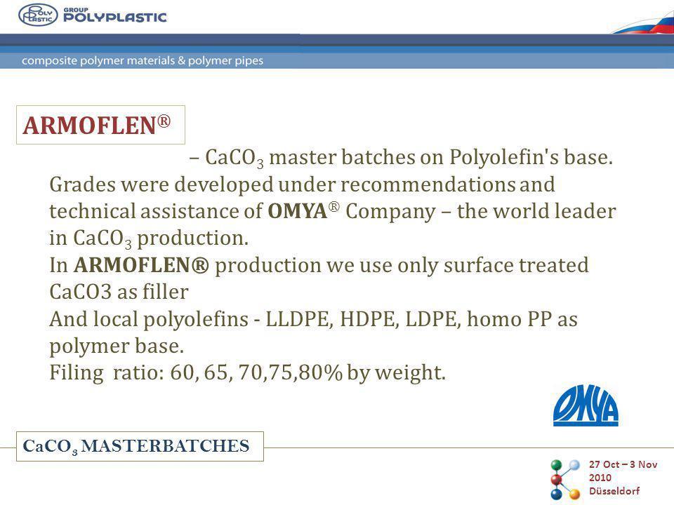 CaCO 3 MASTERBATCHES Market share of master batches type in Russia 27 Oct – 3 Nov 2010 Düsseldorf
