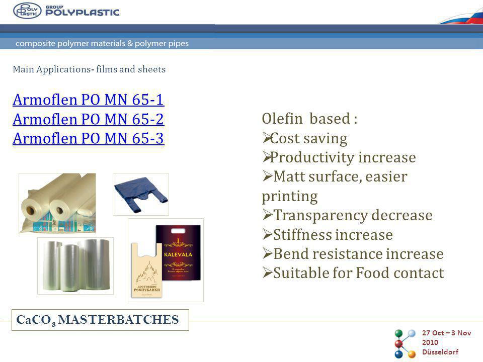 CaCO 3 MASTERBATCHES 27 Oct – 3 Nov 2010 Düsseldorf Main Applications- films and sheets Olefin based : Cost saving Productivity increase Matt surface, easier printing Transparency decrease Stiffness increase Bend resistance increase Suitable for Food contact Armoflen PO MN 65-1 Armoflen PO MN 65-2 Armoflen PO MN 65-3