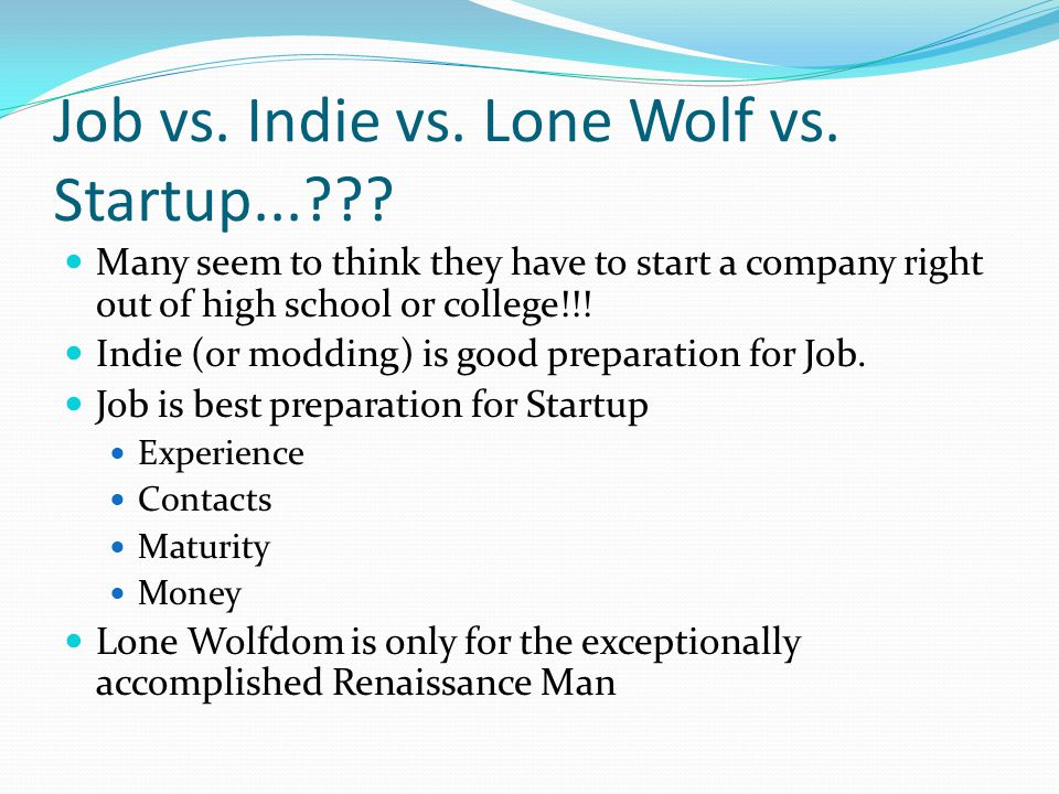 Job vs. Indie vs. Lone Wolf vs. Startup...??? Many seem to think they have to start a company right out of high school or college!!! Indie (or modding