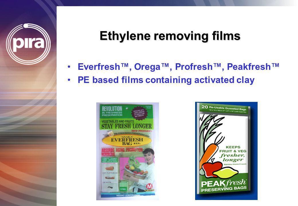Ethylene removing films Everfresh, Orega, Profresh, Peakfresh PE based films containing activated clay