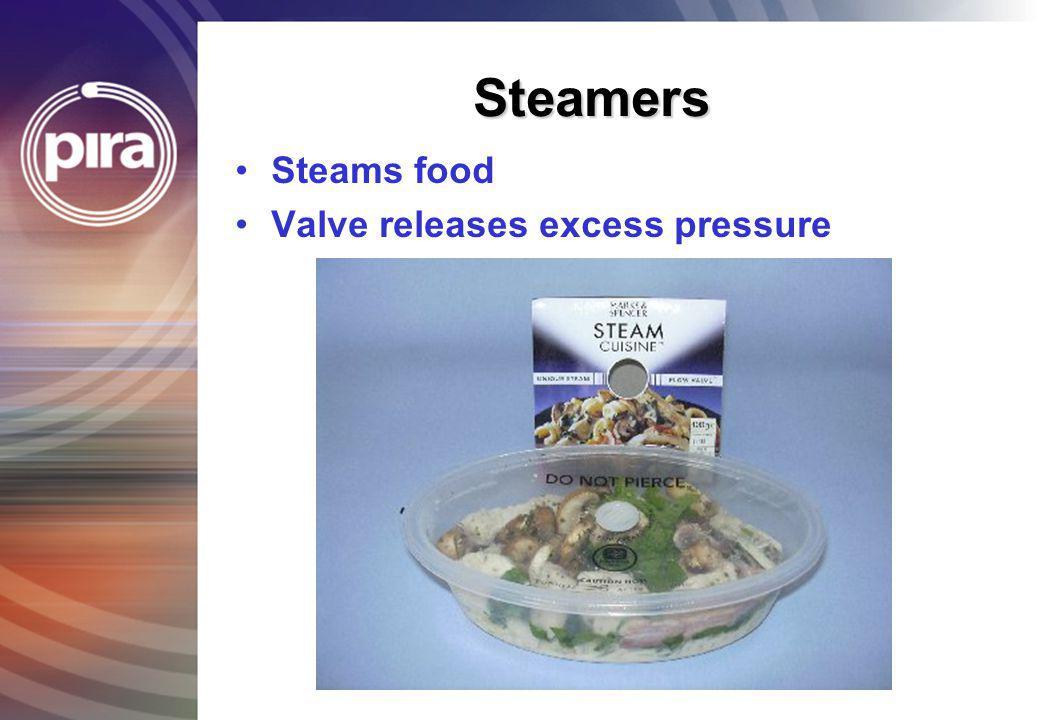 Steamers Steams food Valve releases excess pressure