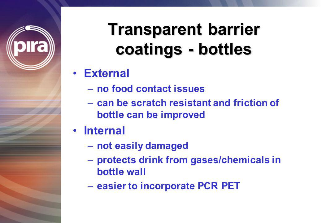 Transparent barrier coatings - bottles External –no food contact issues –can be scratch resistant and friction of bottle can be improved Internal –not
