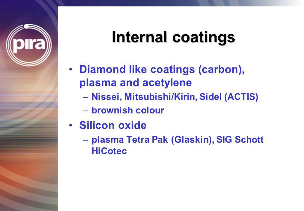 Internal coatings Diamond like coatings (carbon), plasma and acetylene –Nissei, Mitsubishi/Kirin, Sidel (ACTIS) –brownish colour Silicon oxide –plasma