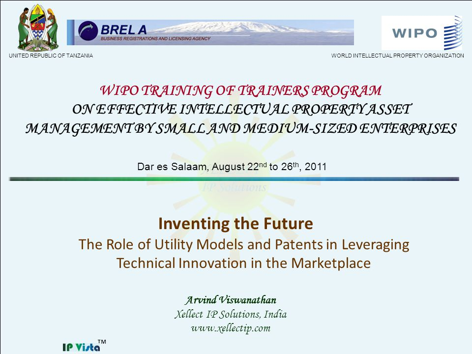 Inventing the Future The Role of Utility Models and Patents in Leveraging Technical Innovation in the Marketplace Arvind Viswanathan Xellect IP Soluti