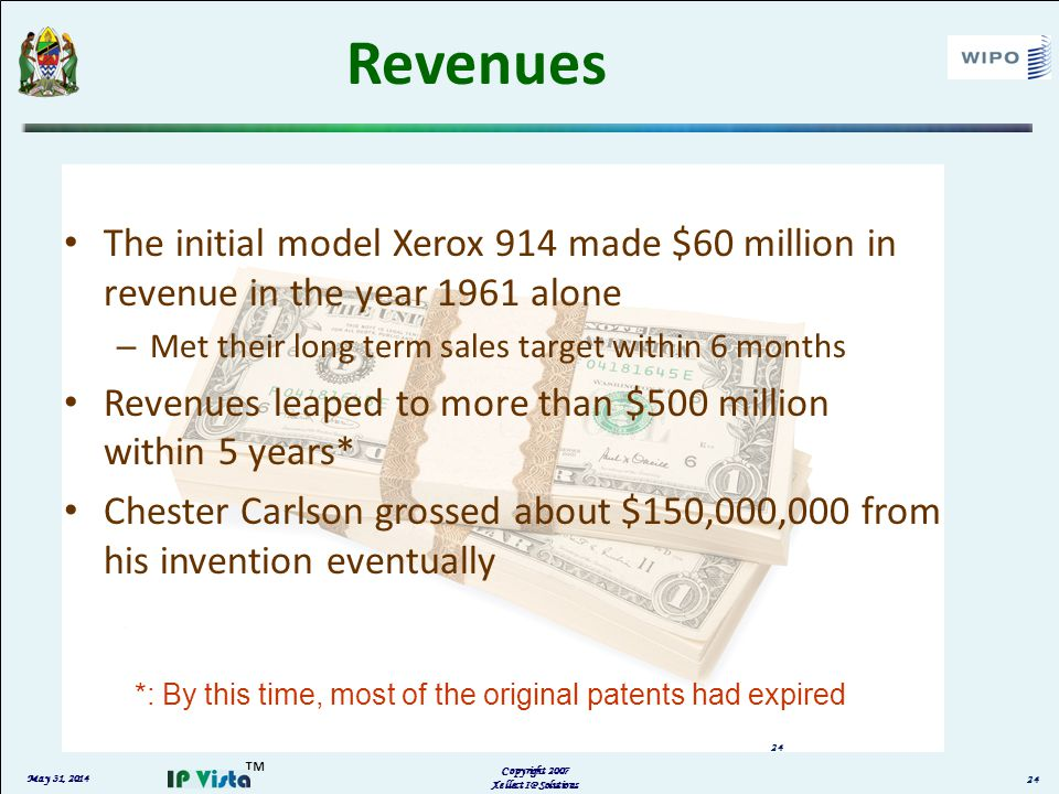 May 31, 2014 Copyright 2007 Xellect IP Solutions 24 Revenues The initial model Xerox 914 made $60 million in revenue in the year 1961 alone – Met thei