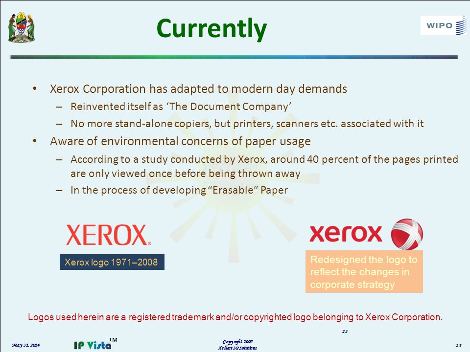 May 31, 2014 Copyright 2007 Xellect IP Solutions 25 Currently Xerox Corporation has adapted to modern day demands – Reinvented itself as The Document