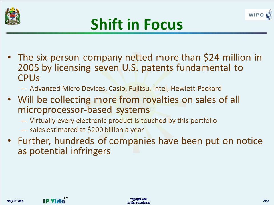 May 31, 2014 Copyright 2007 Xellect IP Solutions Shift in Focus The six-person company netted more than $24 million in 2005 by licensing seven U.S. pa
