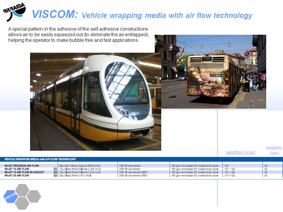 VISCOM VISCOM: Vehicle wrapping media with air flow technology A special pattern in the adhesive of the self-adhesive constructions allows air to be e