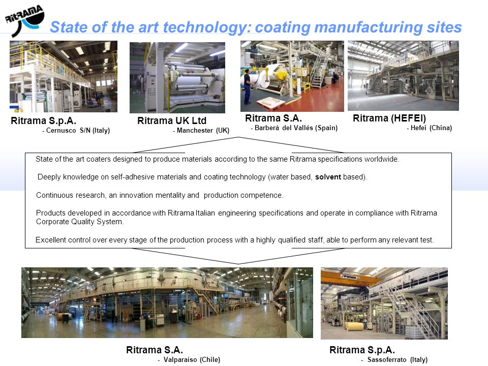 State of the art technology: coating manufacturing sites Ritrama S.p.A. - Cernusco S/N (Italy) Ritrama S.A. - Barberá del Vallés (Spain) Ritrama (HEFE