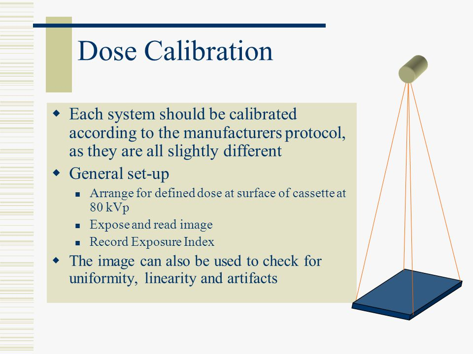Dose Calibration Each system should be calibrated according to the manufacturers protocol, as they are all slightly different General set-up Arrange f