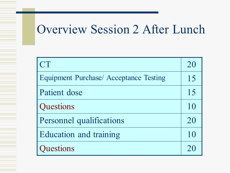 Overview Session 2 After Lunch CT20 Equipment Purchase/ Acceptance Testing 15 Patient dose15 Questions10 Personnel qualifications20 Education and trai