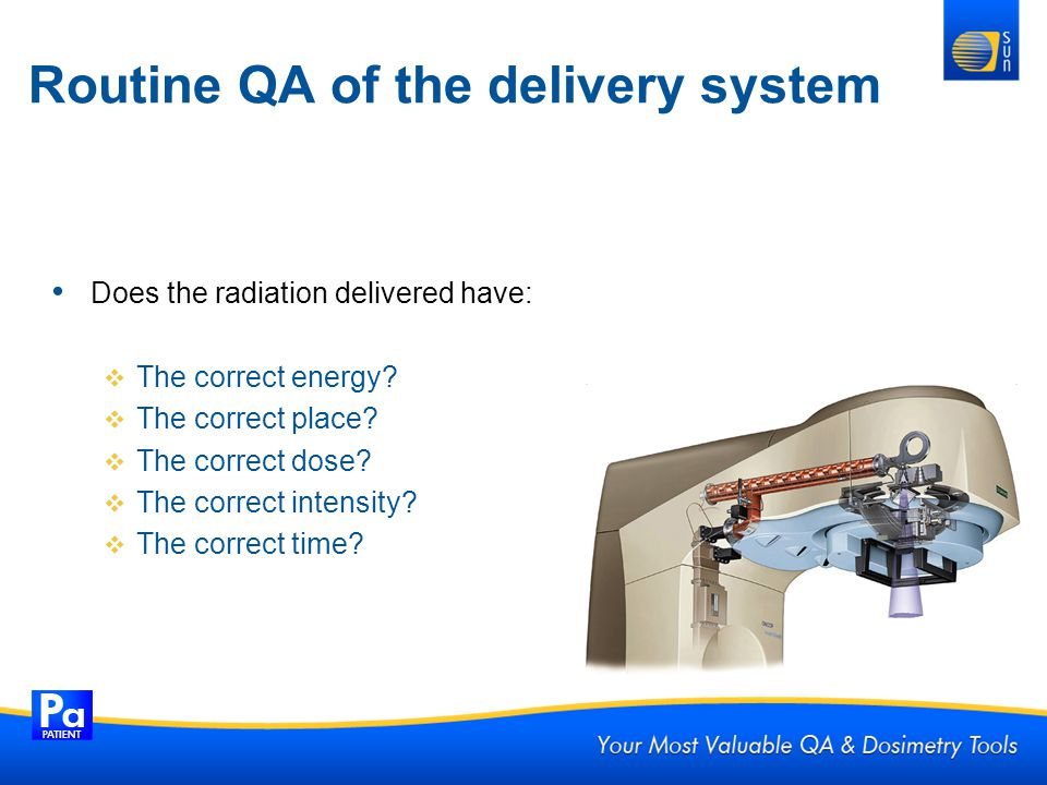 Routine QA of the delivery system Does the radiation delivered have: The correct energy? The correct place? The correct dose? The correct intensity? T