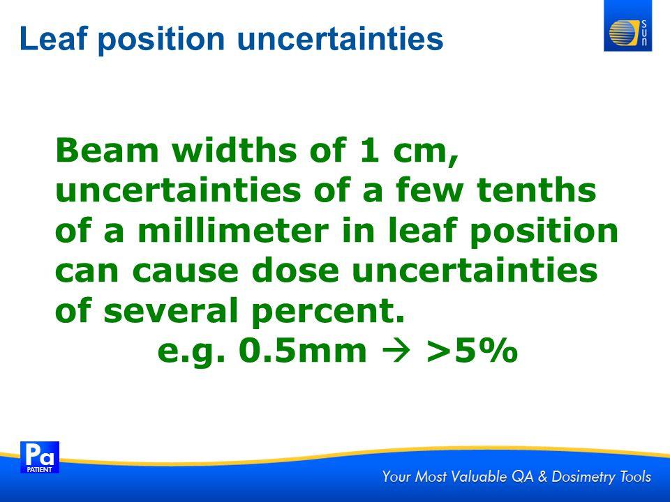 Leaf position uncertainties Beam widths of 1 cm, uncertainties of a few tenths of a millimeter in leaf position can cause dose uncertainties of severa