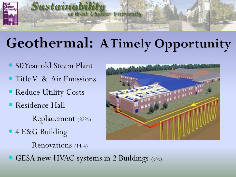 Geothermal: A Timely Opportunity 50 Year old Steam Plant Title V & Air Emissions Reduce Utility Costs Residence Hall Replacement (33%) 4 E&G Building