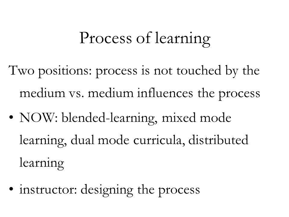 Process of learning Two positions: process is not touched by the medium vs.