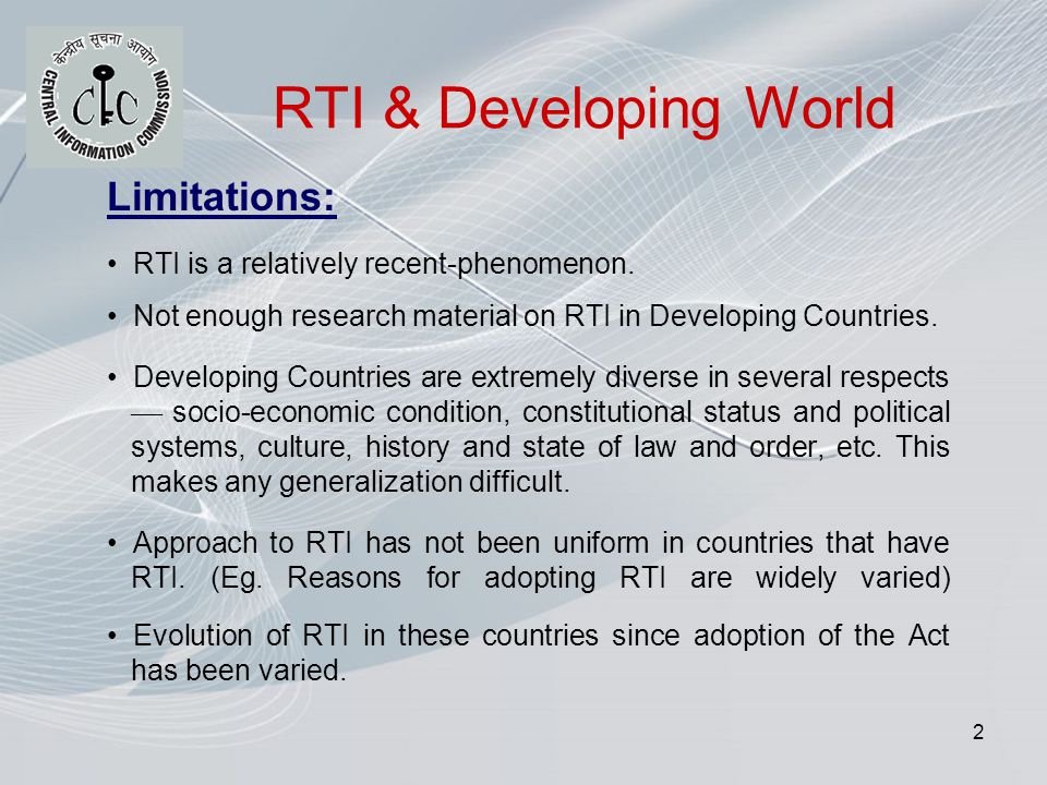 2 RTI & Developing World Limitations: RTI is a relatively recent-phenomenon.