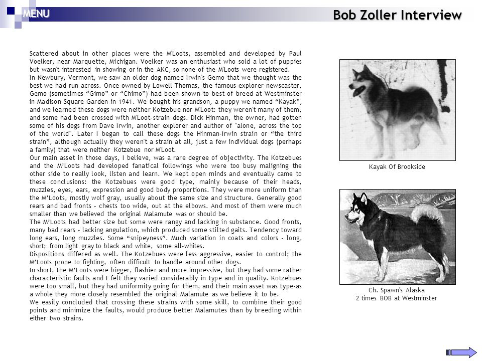 Bob Zoller Interview Scattered about in other places were the M'Loots, assembled and developed by Paul Voelker, near Marquette, Michigan. Voelker was