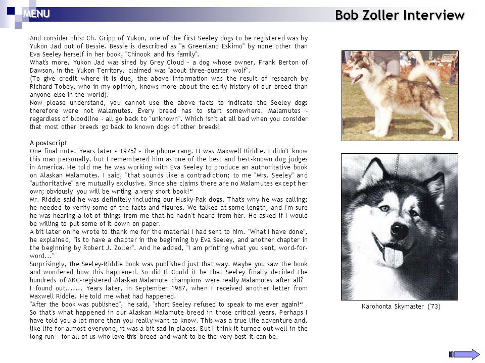 Bob Zoller Interview And consider this: Ch. Gripp of Yukon, one of the first Seeley dogs to be registered was by Yukon Jad out of Bessie. Bessie is de