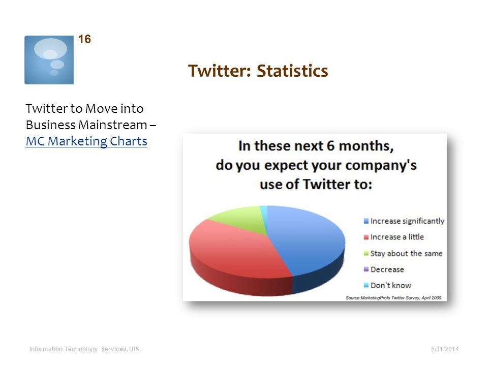 Twitter: Statistics Twitter to Move into Business Mainstream – MC Marketing Charts MC Marketing Charts 5/31/2014 16 Information Technology Services, U