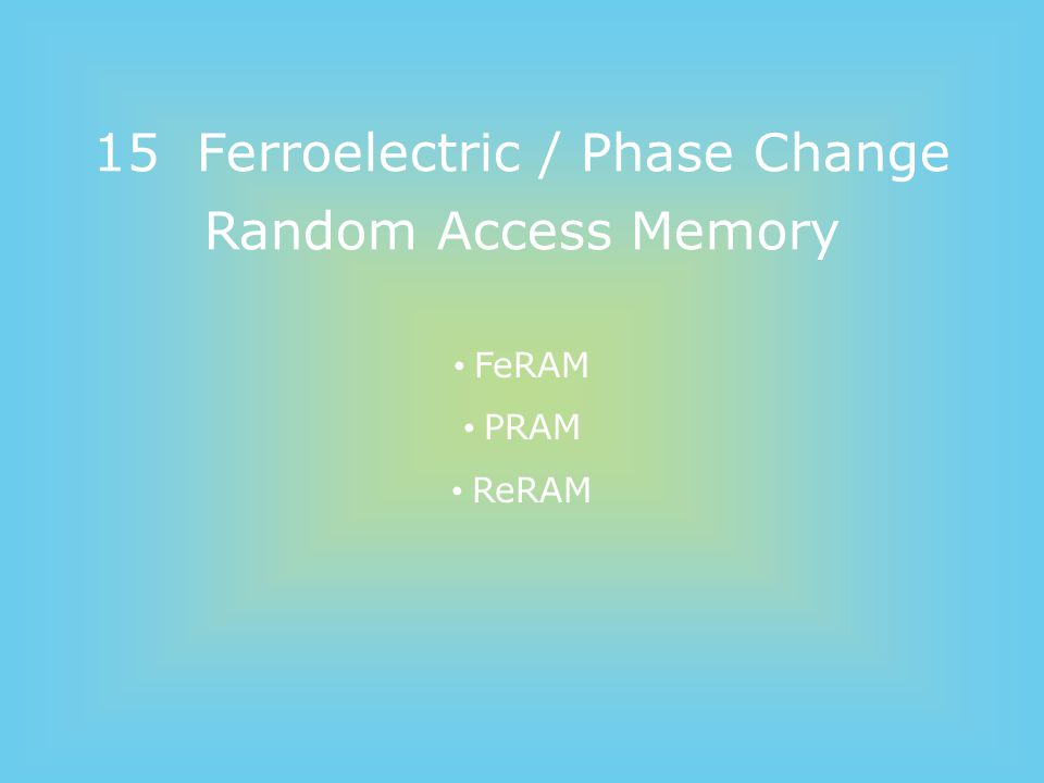 Memory Types * http://www.semiconductorjapan.net/serial/lesson/12.html Rewritable Read only Read majority (Writable) Volatile Non-volatile Dynamic Static DRAM SRAM MRAM FeRAM PRAM PROM Mask ROM Flash EPROM