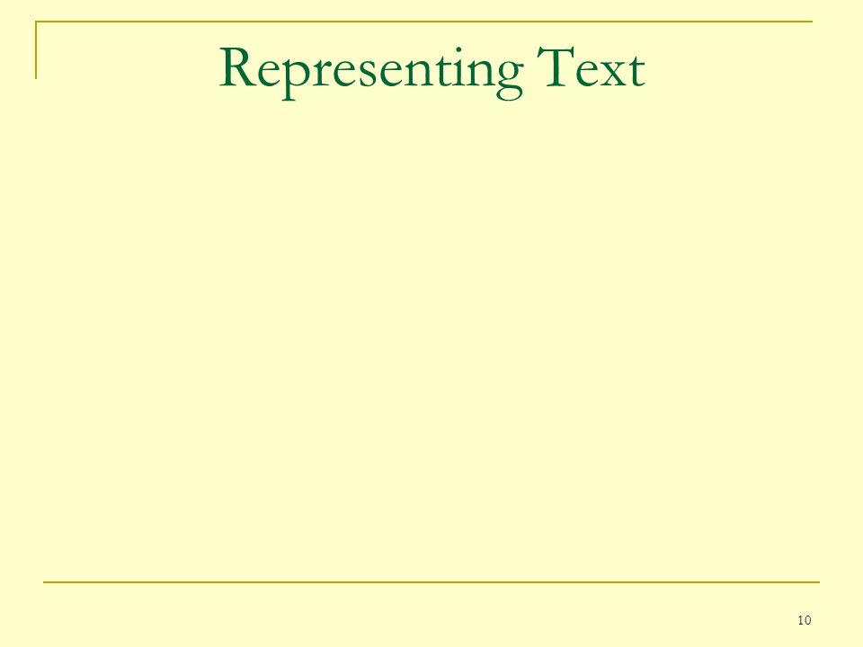 10 Representing Text