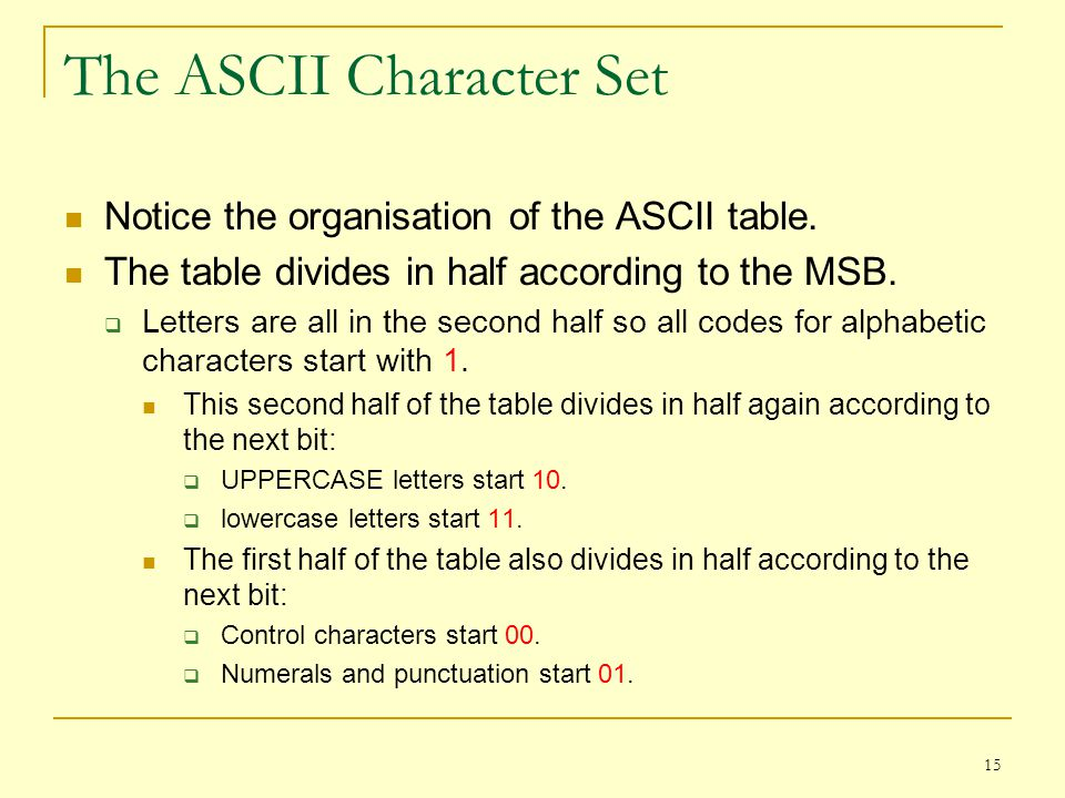 15 The ASCII Character Set Notice the organisation of the ASCII table. The table divides in half according to the MSB. Letters are all in the second h