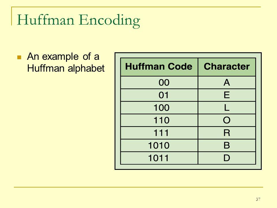 37 Huffman Encoding An example of a Huffman alphabet