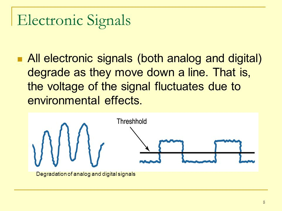 8 Electronic Signals All electronic signals (both analog and digital) degrade as they move down a line. That is, the voltage of the signal fluctuates