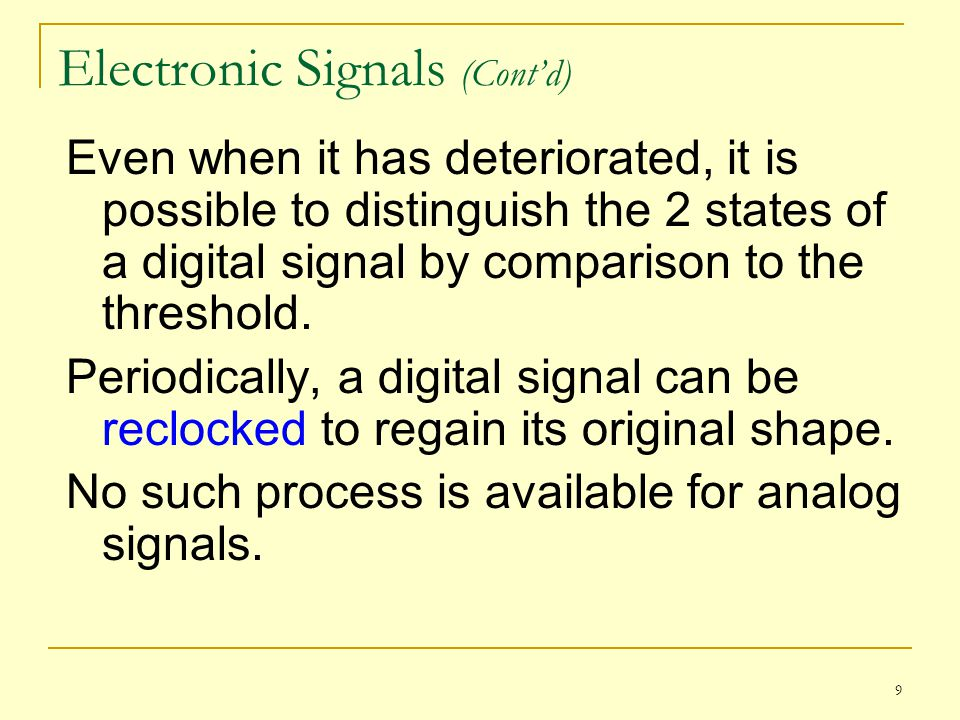 9 Electronic Signals (Contd) Even when it has deteriorated, it is possible to distinguish the 2 states of a digital signal by comparison to the thresh