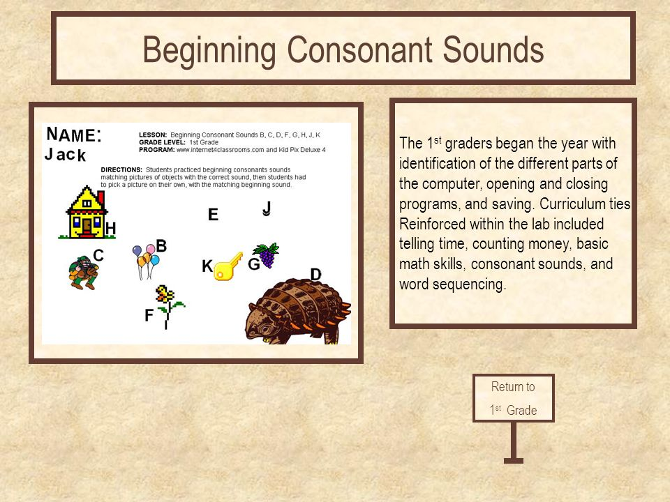 Return to 1 st Grade Beginning Consonant Sounds The 1 st graders began the year with identification of the different parts of the computer, opening an